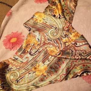 """4ft by 7"""" satin paisley scarf/ head wrap."""